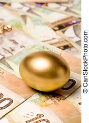 golden egg and canadian dollars, concept of Making Money