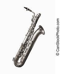 Baritone Saxophone on white background.