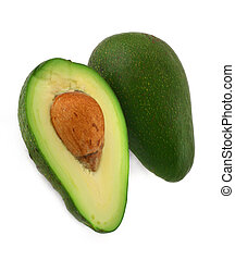cut avocado #2 - close-up of cut avocado fruit isolated on...