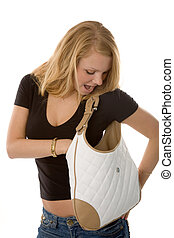 woman with handbag - the blond woman with leather handbag...