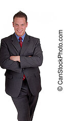 Businessman Leaning - Young Businessman Leaning, Ready to...