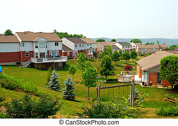 Residential Back Yards - Residential two story brick homes...