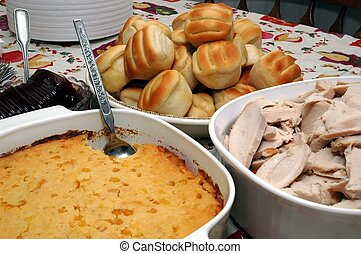 Holiday Dinner - Holiday dinner with turkey, casserole,...