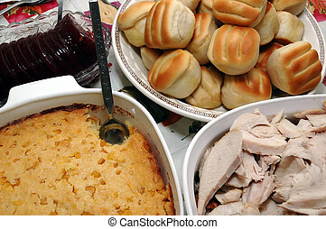 Holiday Dinner - Holiday dinner with sliced turkey,...