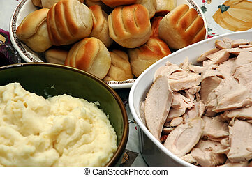 Holiday Dinner - Holiday dinner with sliced turkey, mashed...
