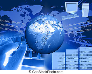 world and computer on blue background