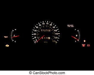 Car Dashboard - Car dashboard gauges illuminated on black...