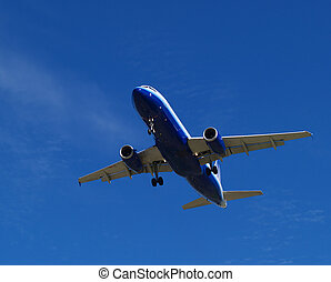 Incoming - passenger jet on approach to the Vancouver...