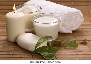 milk bath - white bath items soap, towel, milk, candle spa