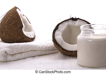 coco bath items coconut, milk, towel white spa