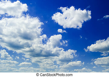 The blue sky. - The beautiful blue sky and white clouds.