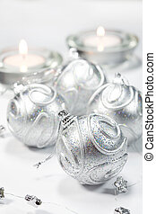 Christmas balls - Gold and silver Christmas balls with...