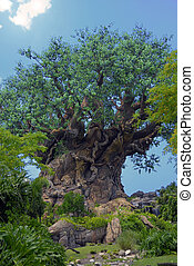 Old Carved Tree - A green tree carved with various wild...