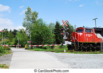 train crossing - train approching crossing