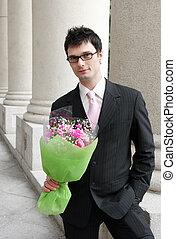 flores, grupo, homem