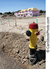 New Subdivision - A fire hydrant exposed from the ground in...