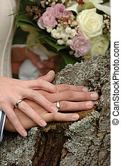 Wedding rings and hands of a young wedding couple.