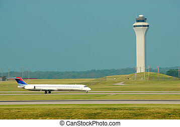 Airplane Landing In Front Of The Control Tower - Cincinnati...