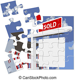 Real Estate Home SOLD Sign Puzzle - Jigsaw puzzle...