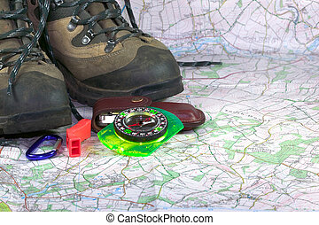Adventure series 3 - Hiking boots,compass and accessories on...