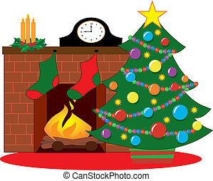 Christmas tree by a fireplace decorated with stockings
