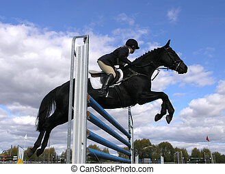 Black Over Blue - A show jumper clearing a jump. Taken in...