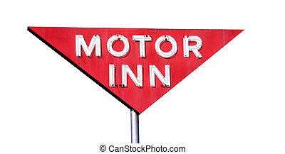 Motor Inn Isolated - This is a retro sign for an old motor...