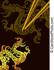 Chopstick And plate 11 - isolated picture of chopsticks on a...