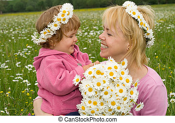 Picking flowers with mom