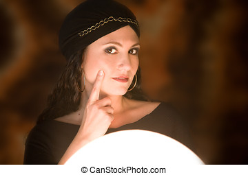 Fortune teller at work - Beautiful gypsy girl with her...