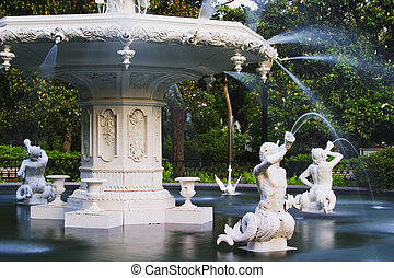 Forsyth Park Fountain in Savannah Georgia Showing the mermen...