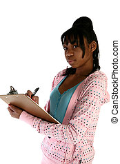 Beautiful Fifteen Year Old Teen with Clipboard - Beautiful...