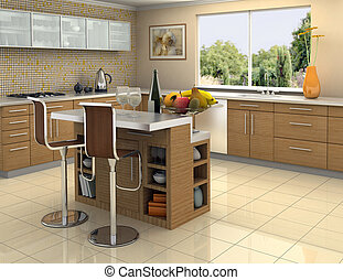 Wood and stainless steel kitchen - Modern kitchen with an...
