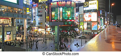 Active japanese district by night, Tokyo, Japan, Panorama -...