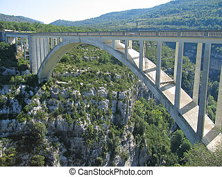 Bridge over the canyon, Verdon Gorges, Azur coast, South of...