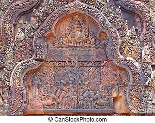 Detail of khmer stone carving for the ramayana legend story,...