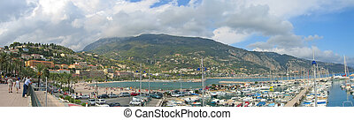 French harbour, Menton, Azur coast, South of France,...