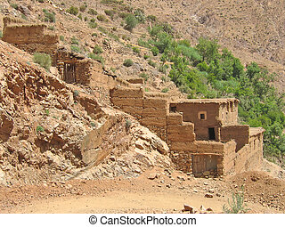 marocain, Berbère, village, brun, montagnes, Setti,...