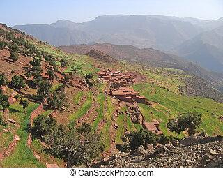 marroquí, berberisco, aldea, montañas, Setti,...