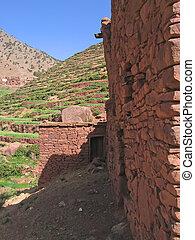 marroquí, berberisco, aldea, montañas,...