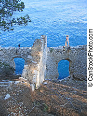 Old castle in a french calanque, Cassis, Marseille, South of...