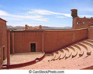 Outside old theater hall, Taourirt Kasbah, Ouarzazate,...