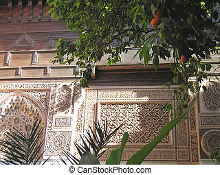 Oriental architecture with azulejos and painted stuc on a...