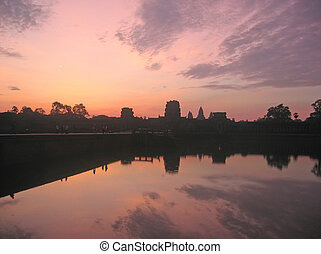 Pink sky for a sunrise on the imperial old khmer city,...