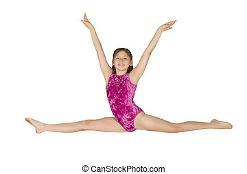 10 year old girl in gymnastics poses - Model Release 282 10...