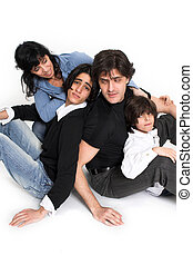 happy family time - happy family spending time together over...