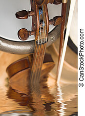 violon in water - violon with drum with water reflection...