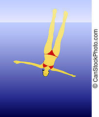 Dive - Illustration of bikini woman diving from high