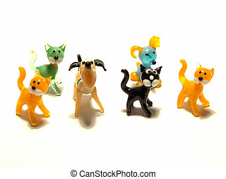 glass animal figures on the white background