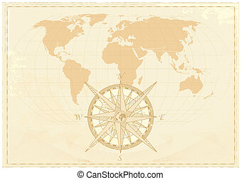 Vintage word map grunge background with retro compass....